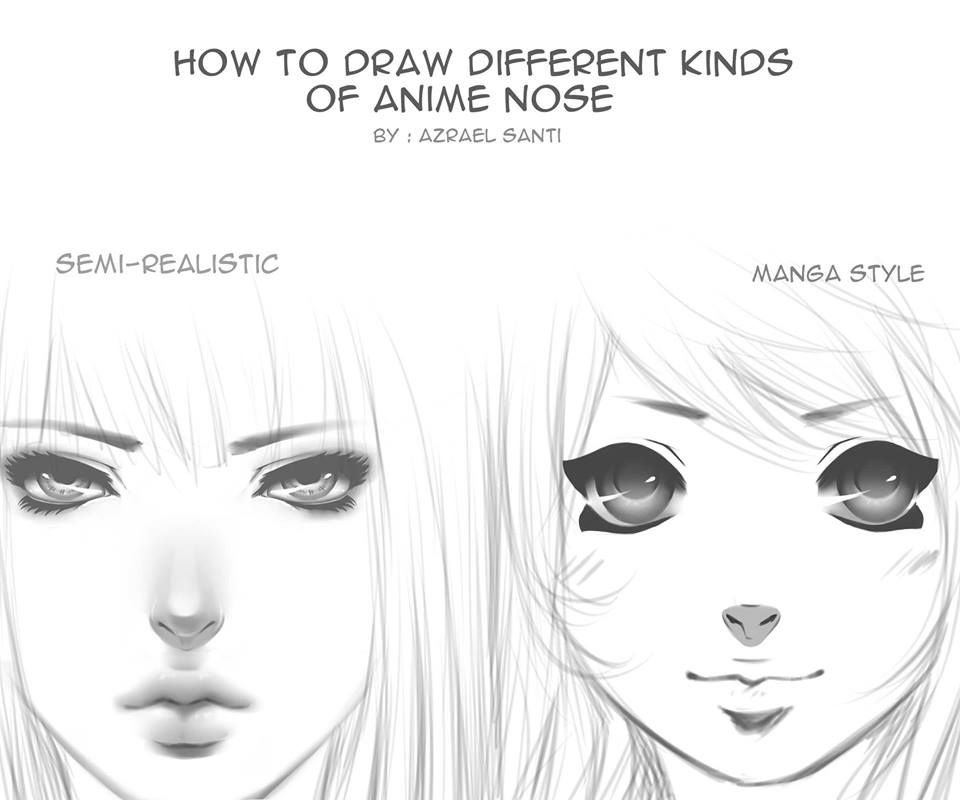 Different Kinds Of Anime Nose By Azrael Santi Nose Drawing Anime Nose Anime Art Tutorial