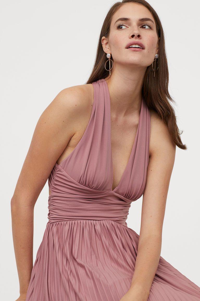 Plissiertes Maxikleid Altrosa Ladies H M De In 2020 Modestil Kleider H M Kleider