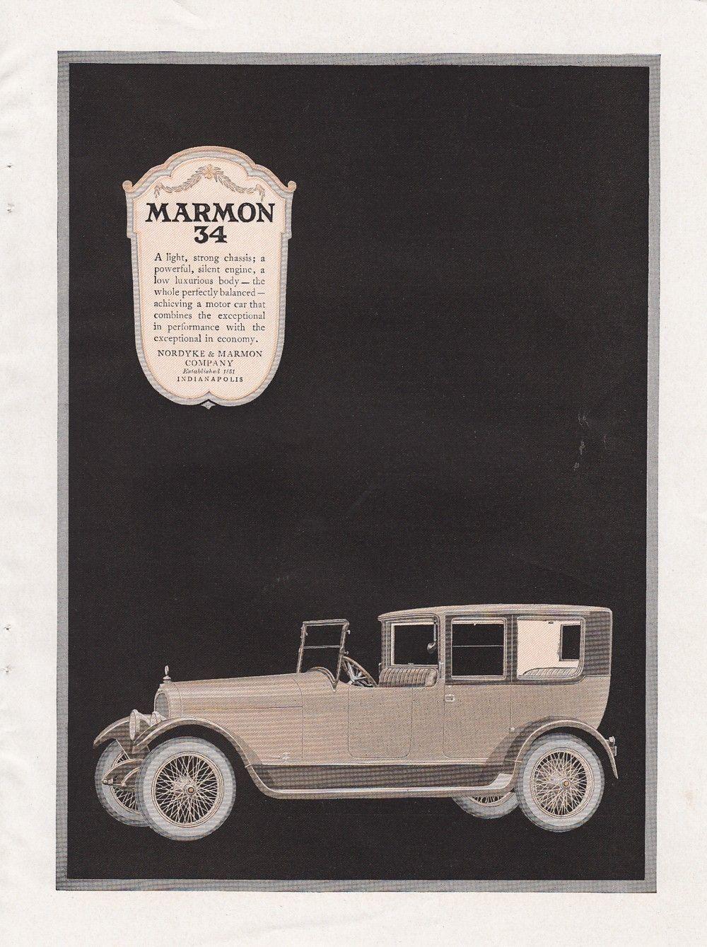 1919 nordyke marmon co indianapolis in ad the marmon 34 automobile car