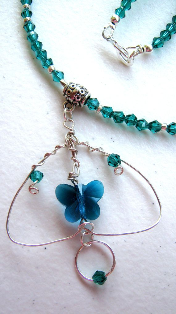 Teal Butterfly wire wrapped necklace on Etsy, $44.00