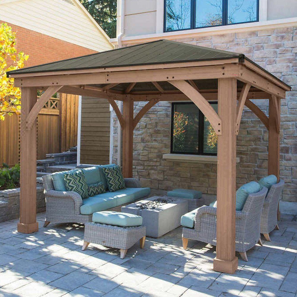 Yardistry Cedar Wood 12 X 12 Gazebo With Aluminum Roof Ebay Backyard Gazebo Backyard Pavilion Diy Gazebo