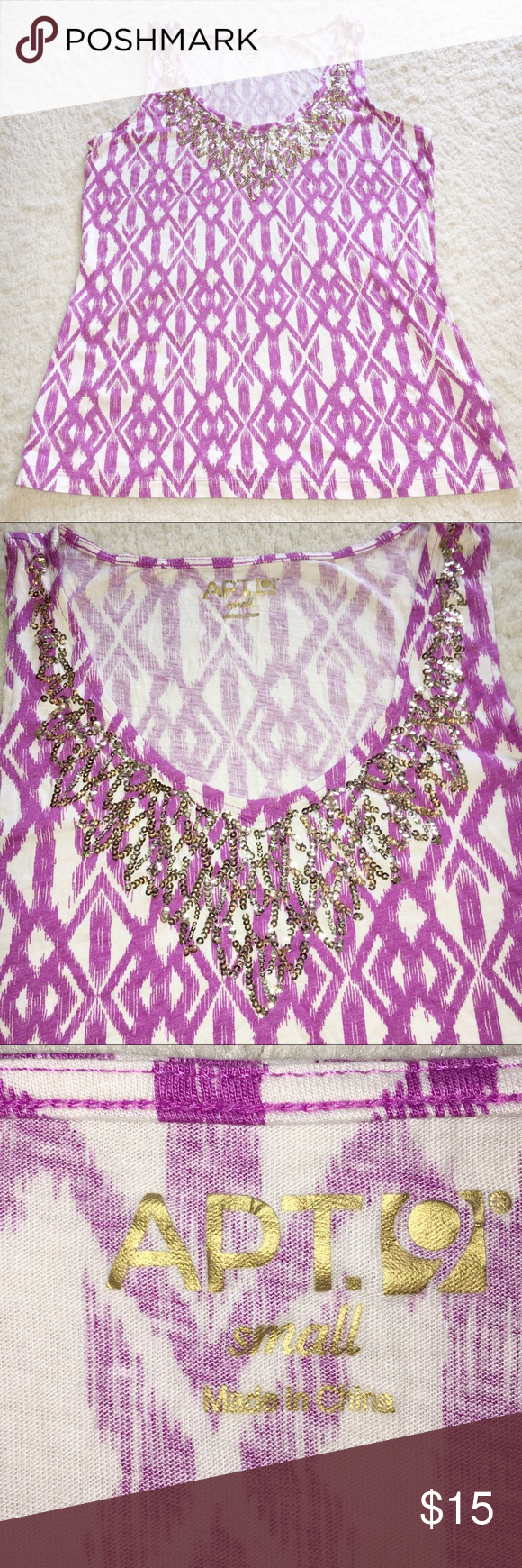 Apartment 9 tank purple & white w/ gold sequinns | Sequins, Purple ...