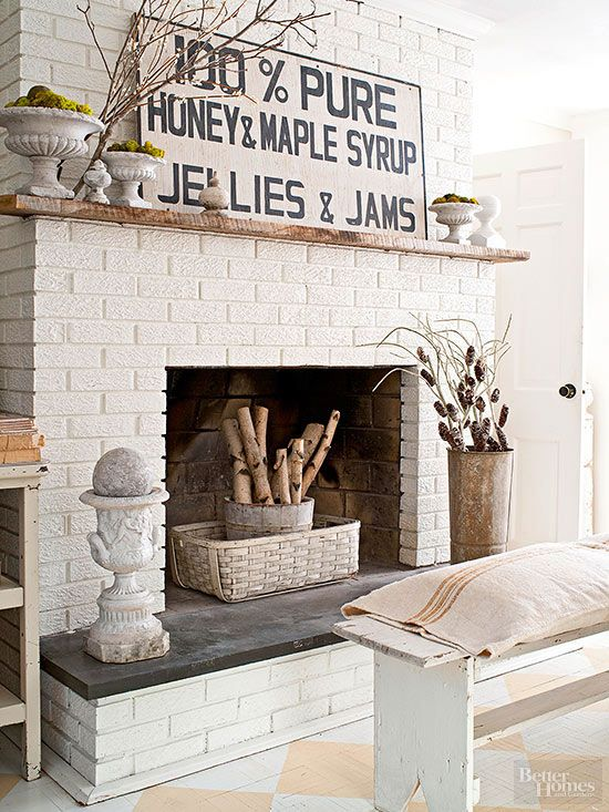 22 Unique Ways To Turn Flea Market Finds Into Vintage Style Wall Art White Brick Fireplace Painted Brick Fireplaces Brick Fireplace