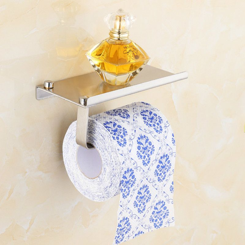 New Stainless steel 304 bathroom paper phone holder with shelf