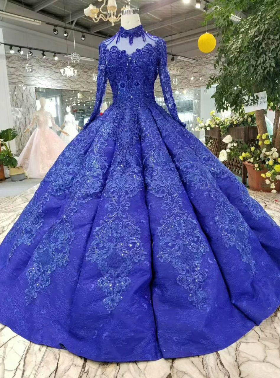 Royal blue appliques high neck long sleeve luxury wedding
