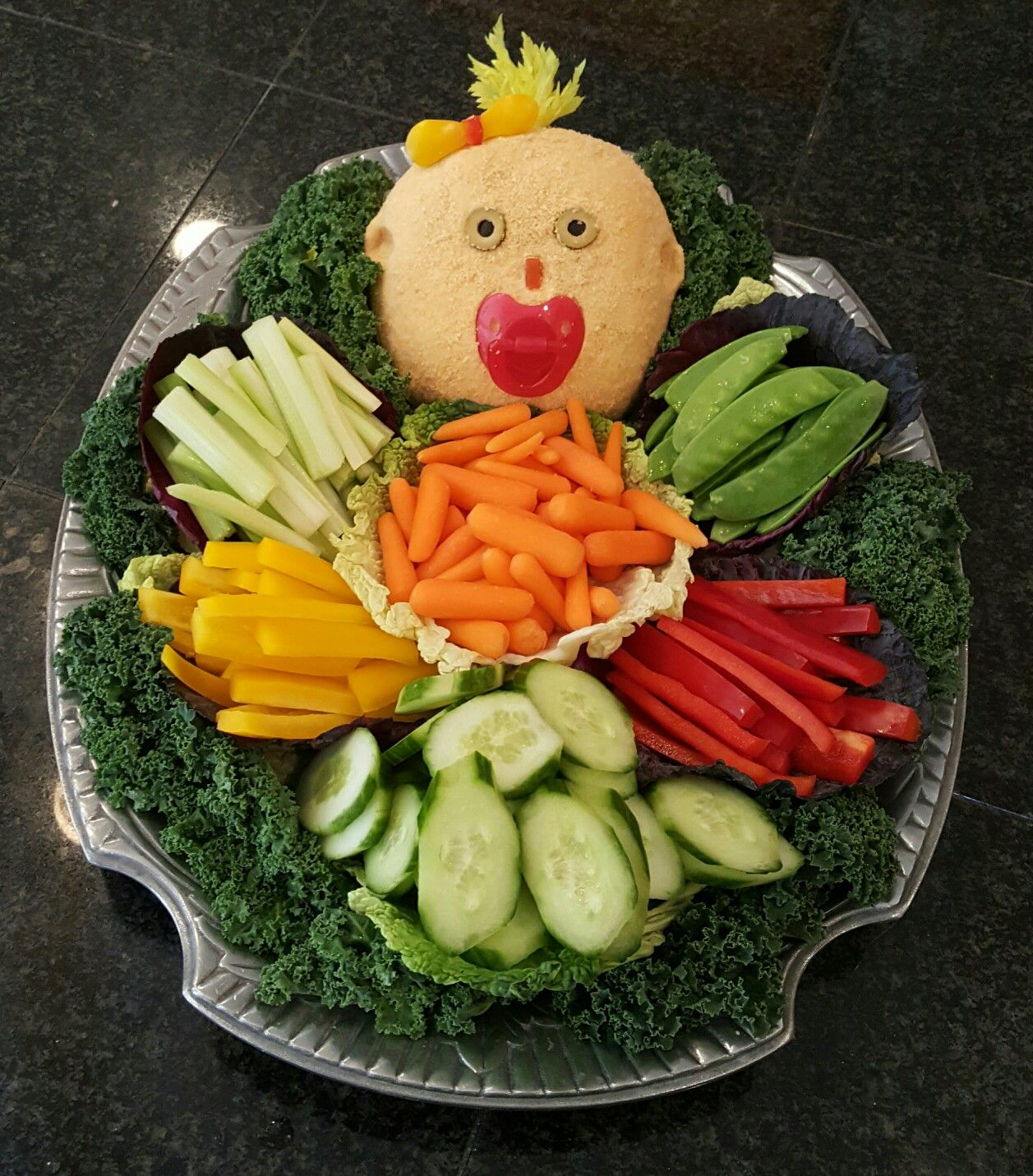Cabbage Patch Veggie Tray With Baby Face Cheese Ball.