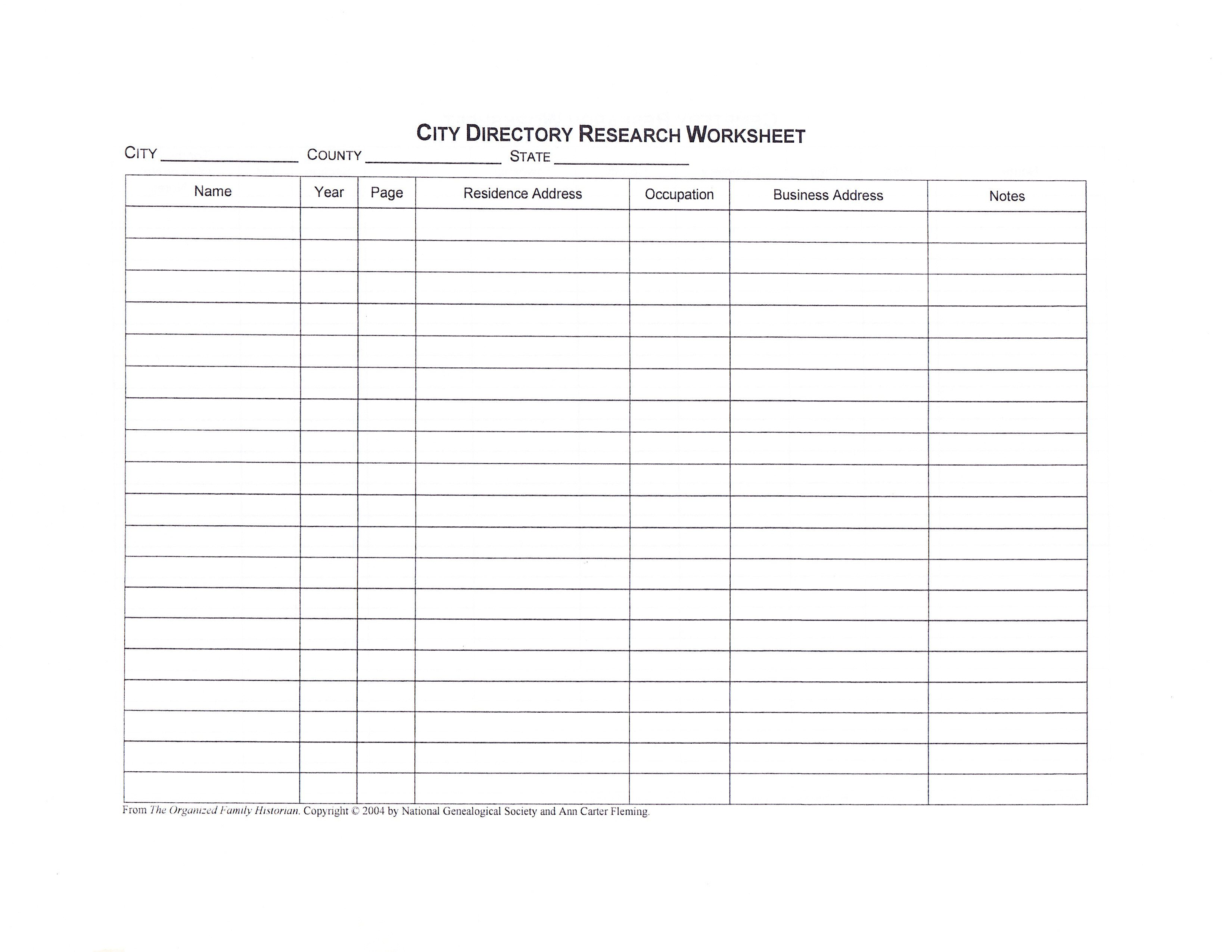City Directory Research Worksheet