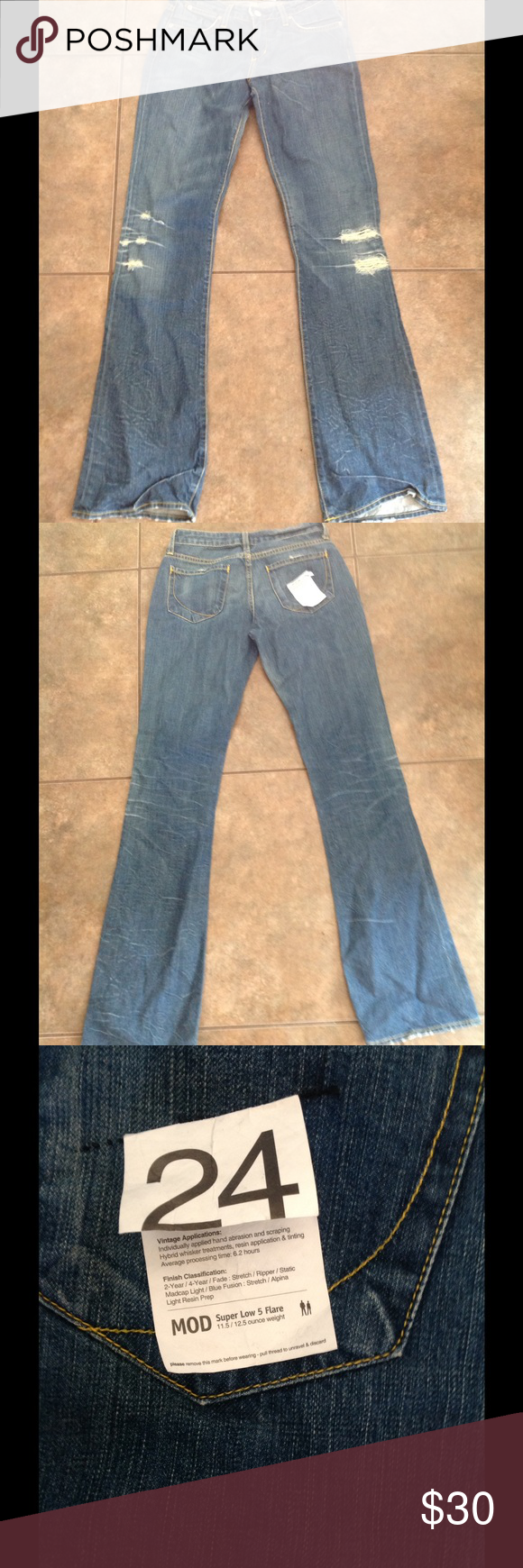 Paper Denim & Cloth jeans Mod Super Low 5 Flare Jeans-Size 24 Paper Denim & Cloth Jeans Flare & Wide Leg