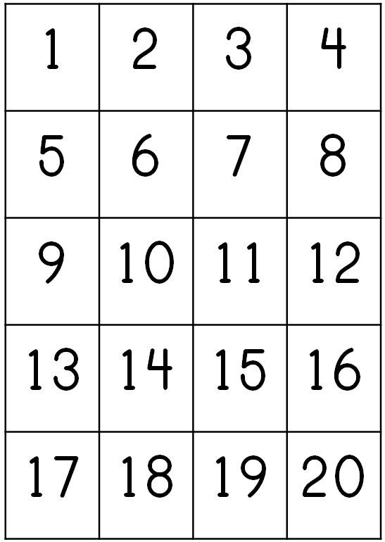 Number Counting Chart 1-20 Pritnable   count 1 20 write their ...