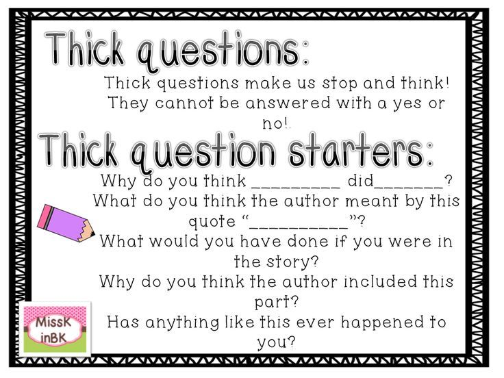 Teaching Students To Question Thick And Thin Question Stems Thick And Thick Questions Anchor Chart Teaching Students To Question Thick And Thin Question Stems