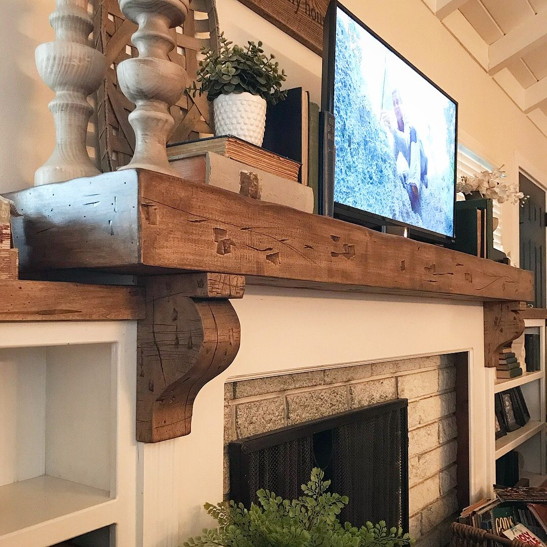 Rustic Handmade Farmhouse Mantle Hand Made By The Hubby Love The Chunky Corbels And Al The Distressed F Farmhouse Mantle Farmhouse Fireplace Home Fireplace