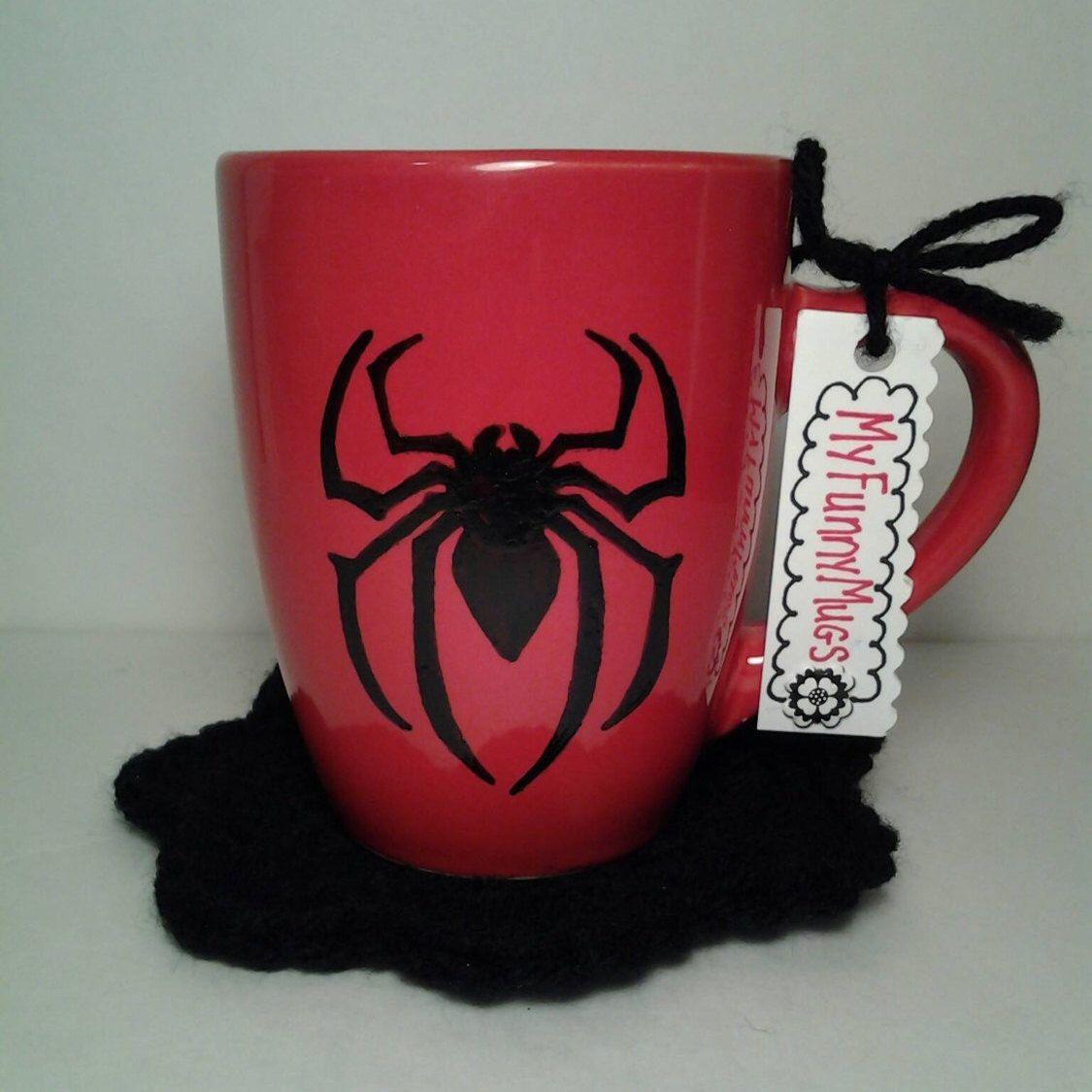 Tazza Personalizzata Fai Da Te spider mug - spider - spider gift - red and black mug - hand
