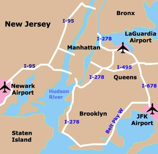 Map Of Nyc Airports To/From NYC's Airports | Work | New york city map, Map, Tourist map