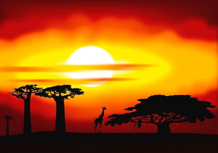 Paysage de la savane africaine r alis par le jeune - Dessin paysage africain ...