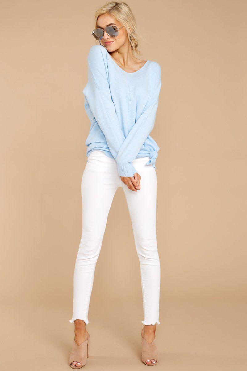 Wind Down Sky Blue Sweater in 2020 | Streetwear outfit, Blue