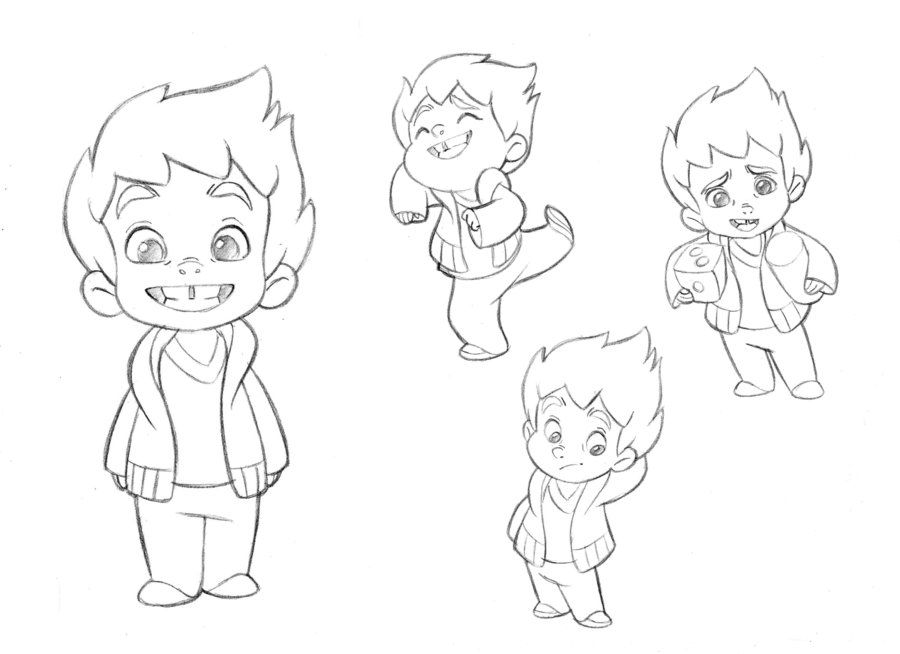 Little boy character sketches test for mercury filmworks by anderson mahanski