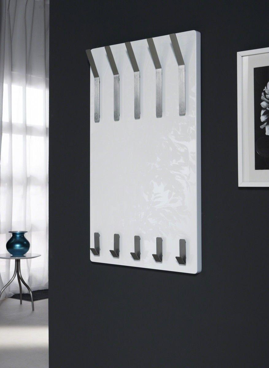 wandgarderobe 60 cm mit 10 edelstahl kleiderhaken wei hochglanz garderobe neu einrichtung und. Black Bedroom Furniture Sets. Home Design Ideas