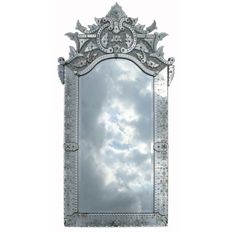 Ornately Detailed Antique Venetian Full Length Mirror | Venetian ...
