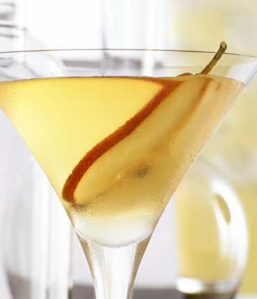 Grey Goose Peartini; 2 parts pear vodka; 1/4 part Disaronno; 3/4 part simple syrup; 3/4 part fresh lemon juice. Shake over ice; garnish with pear slice.