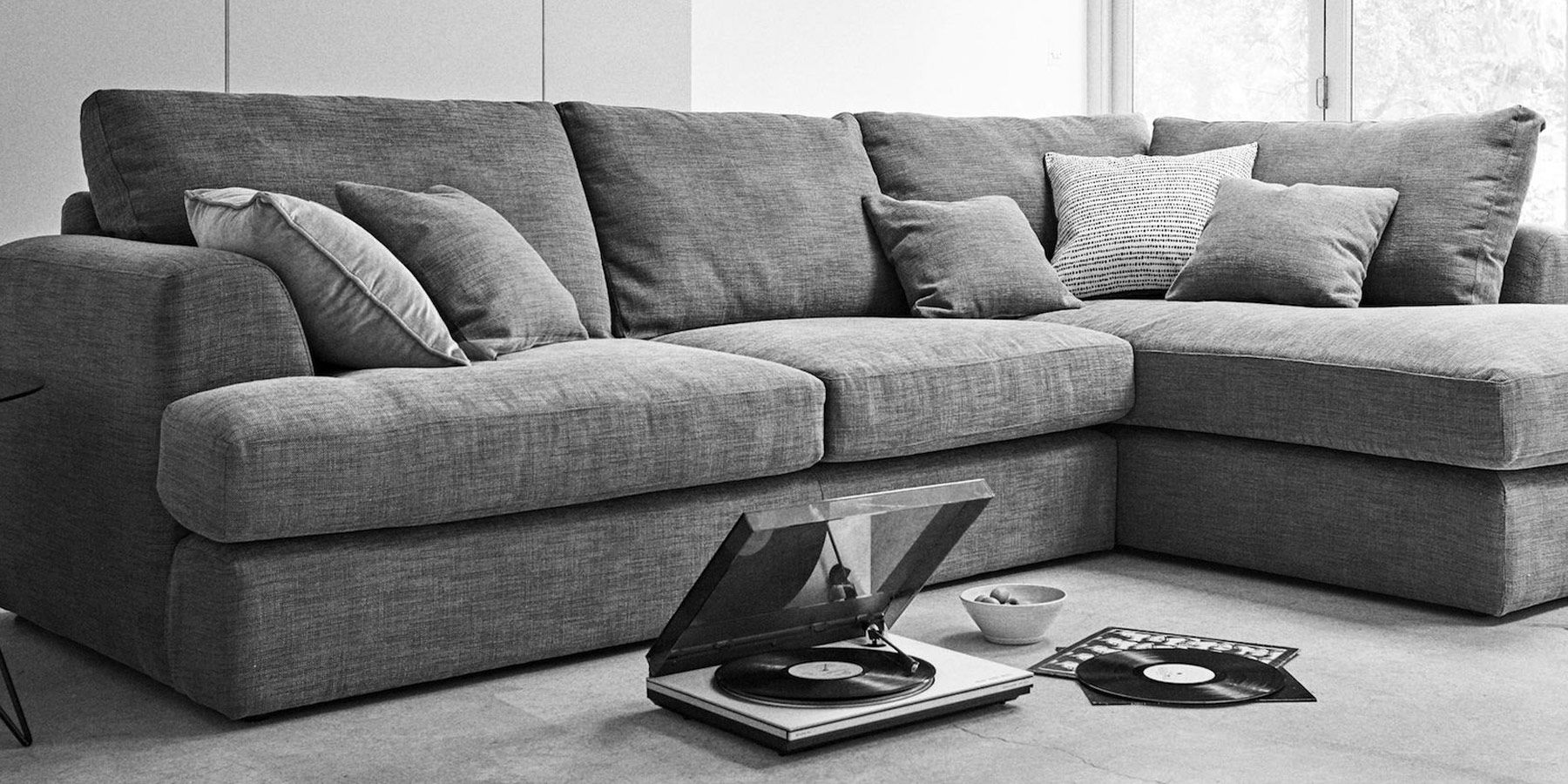 Grey Fabric Sofa Next Set Below 10000 In Chennai Buy Stratus Iii Formal Back Large Chaise End Corner Left Hand 4 Seats Tweedy Blend Mid From The Uk Online Shop