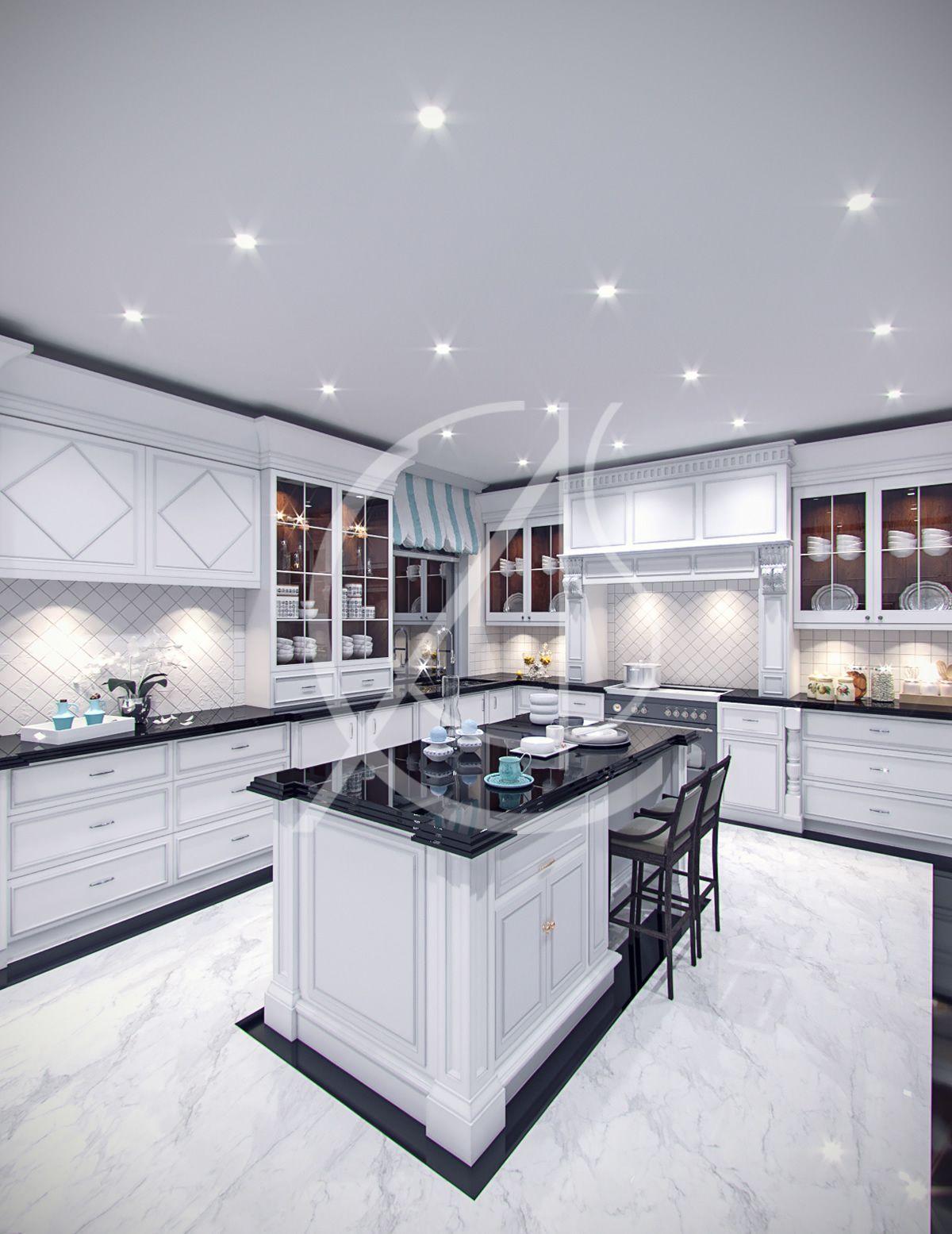 Contemporary Classic Villa Interior By Comelite Architecture Structure And Interior Design, Black An… | Modern Kitchen Design, Interior Design Kitchen, Floor Design