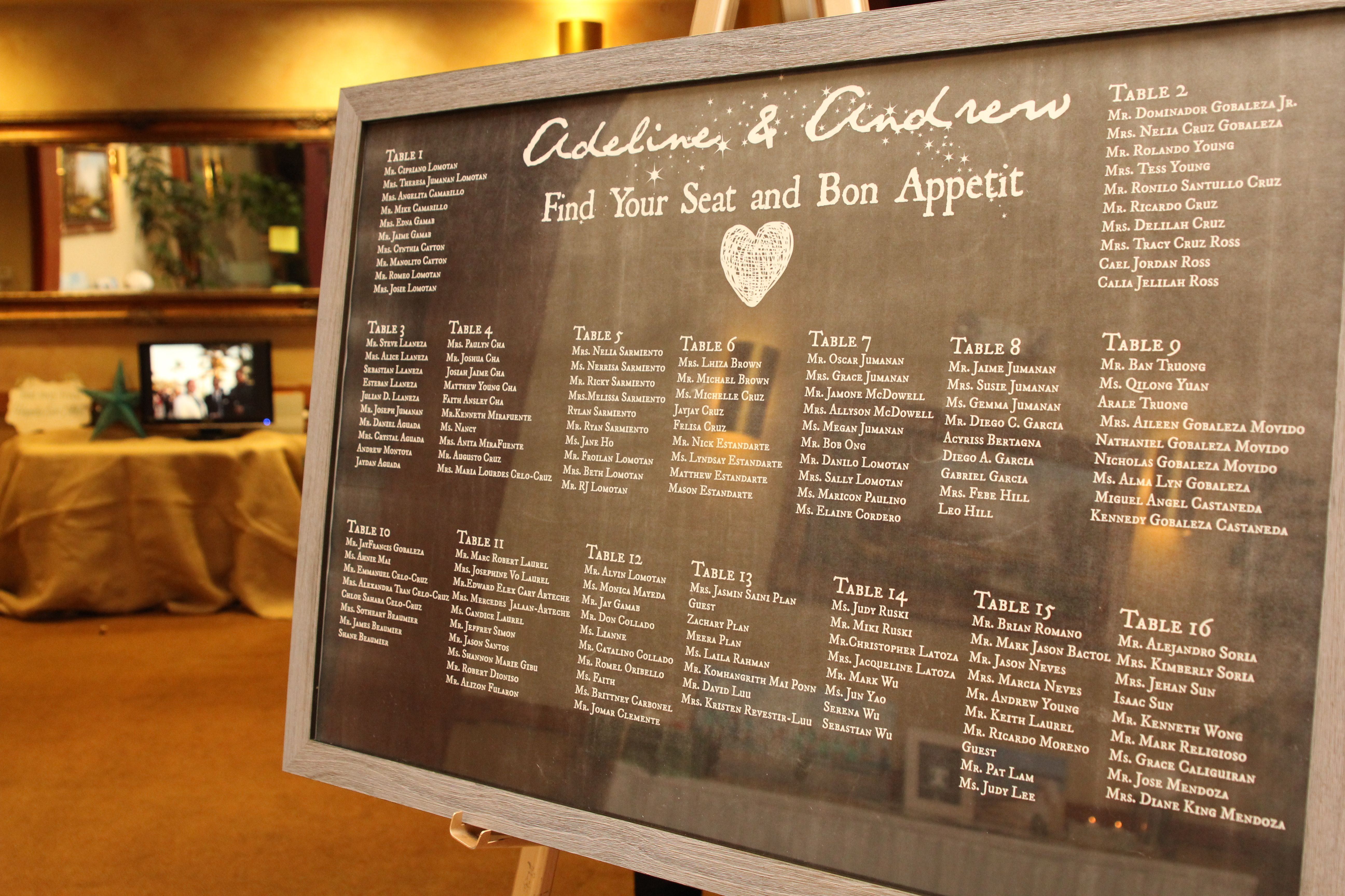 Diy Chalk Board Table Seating Chart Printed At Staples Engineering Print