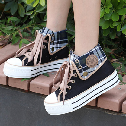 Cute students canvas shoes SE3017 is part of Kawaii shoes - ColorKhaki Black Blue Size Chart