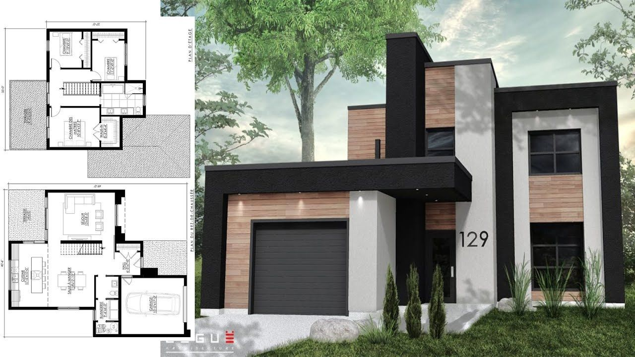 Sketchup Modern House Design 40x49 With 3 Bedrooms Best Bedroom Decor 14223154 Bedroom Design Ga Small Modern House Plans Modern House House Designs Exterior