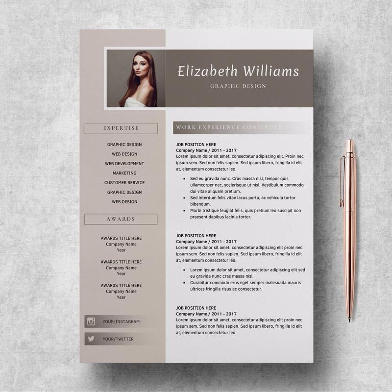 2 Page Resume Template Resume CV Template Natalie