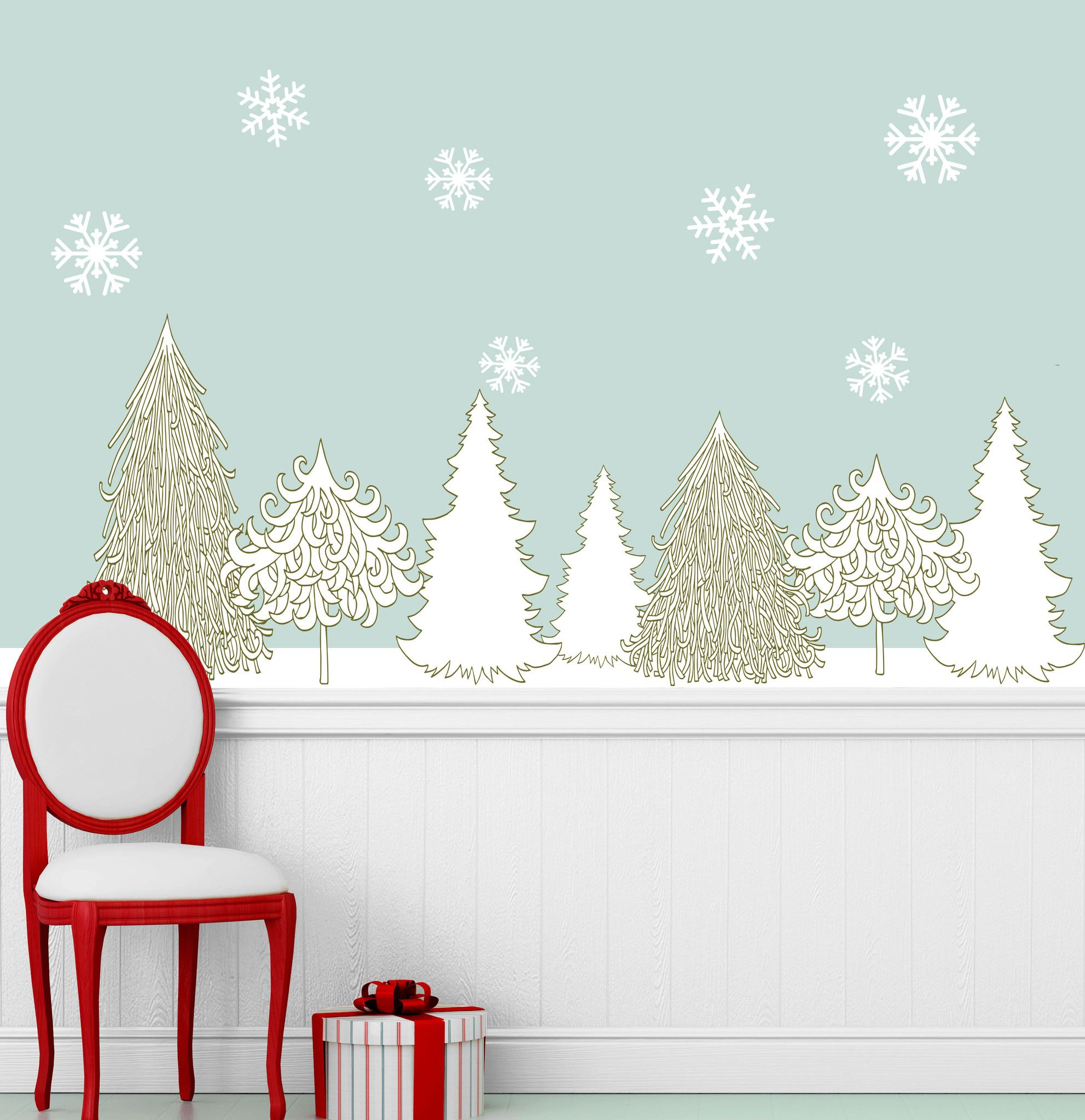 Winter Wonderland Decal Set Holiday Wall Decor Stickers Snowflakes Trees Holiday Wall Decor Wall Decor Stickers Wall Decor Decals