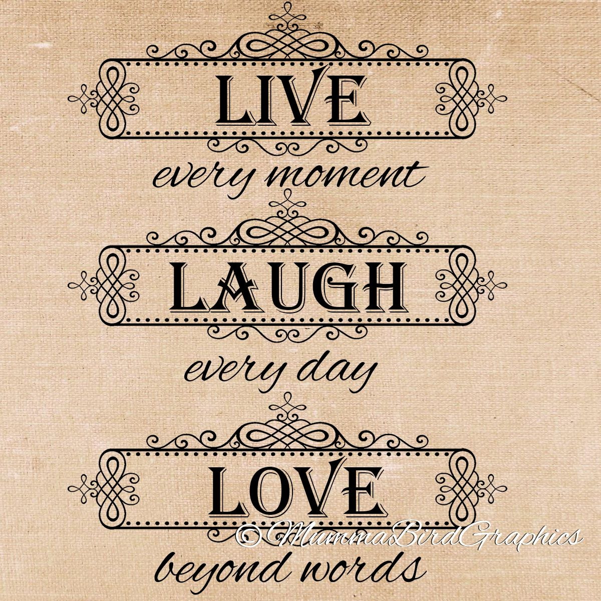 Live Quotes: Live , Laugh , Love Quote . Clip Art , Digital Download