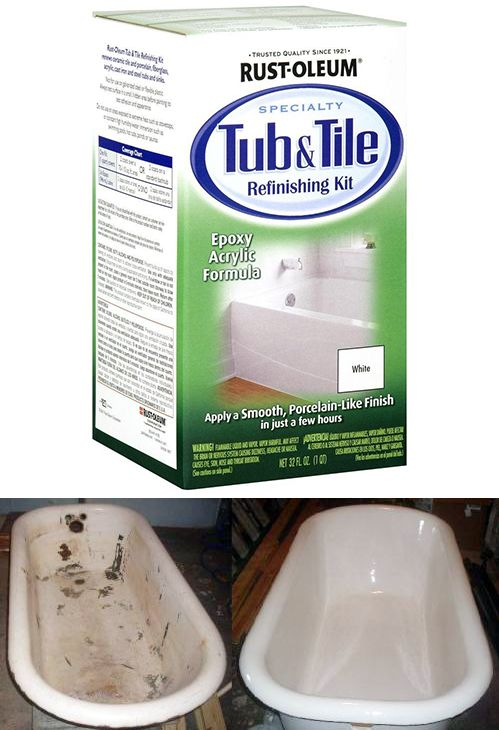Rust-Oleum Specialty 1 qt. White Tub and Tile Refinishing Kit | Bath ...