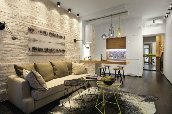 modernes wohnzimmer einrichten interessante beleuchtung originelles möbeldesign