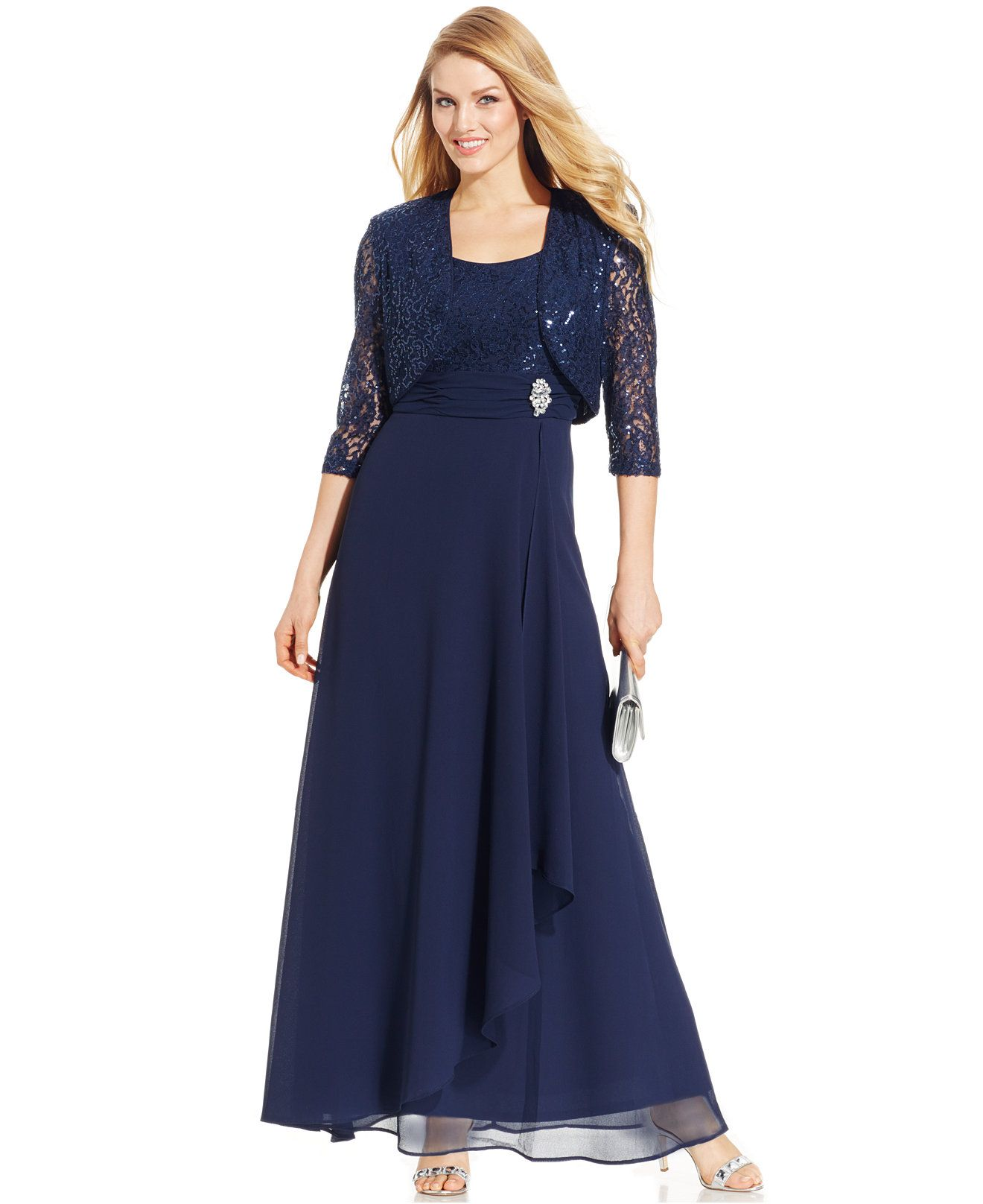 R&M Richards Sleeveless Sequin Lace Dress and Jacket - Mother of the ...