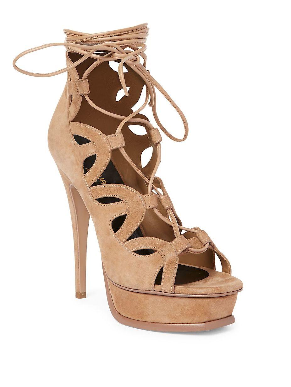 d4411418a70cb Yves Saint Laurent Tribute Cutout Suede Lace-Up Platform Sandals ...