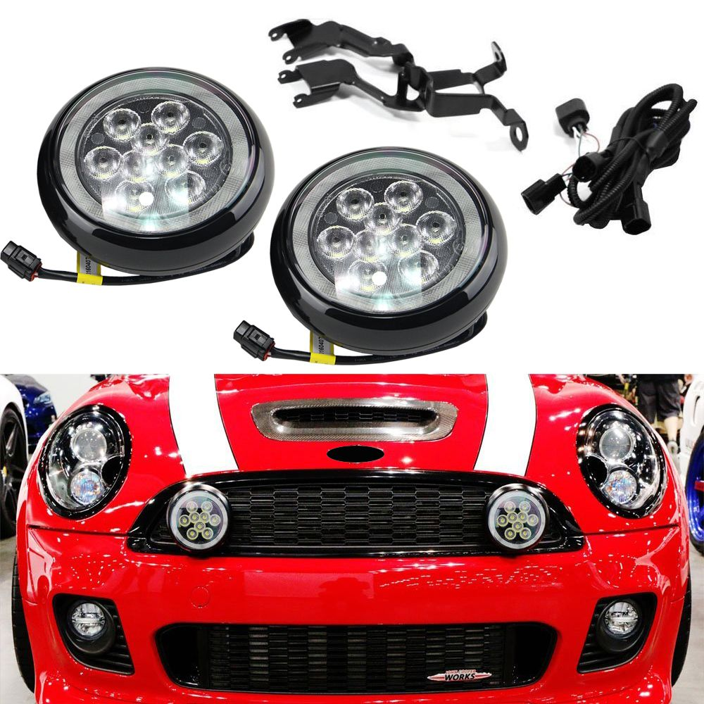 For Mini Cooper R55 R56 R57 R58 R60 R61 F56 Led Rally Driving Light With Halo Ring Angel Eyes Drl Black Shell Daylight Car Lights Light Accessories Mini Cooper