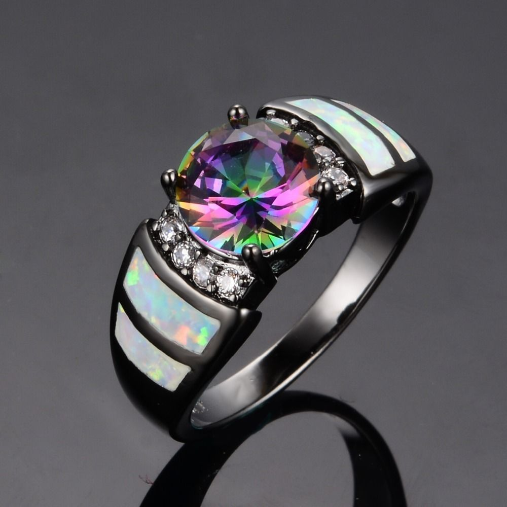 Size 6 7 8 9 Stunning 10kt Black Gold Fire Opal Rainbow Topaz Wedding Ring