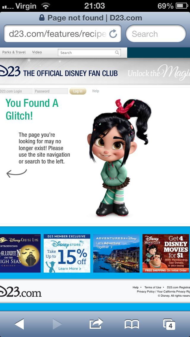 D23 Error Page With Penelope From Wreck It Ralph My Media
