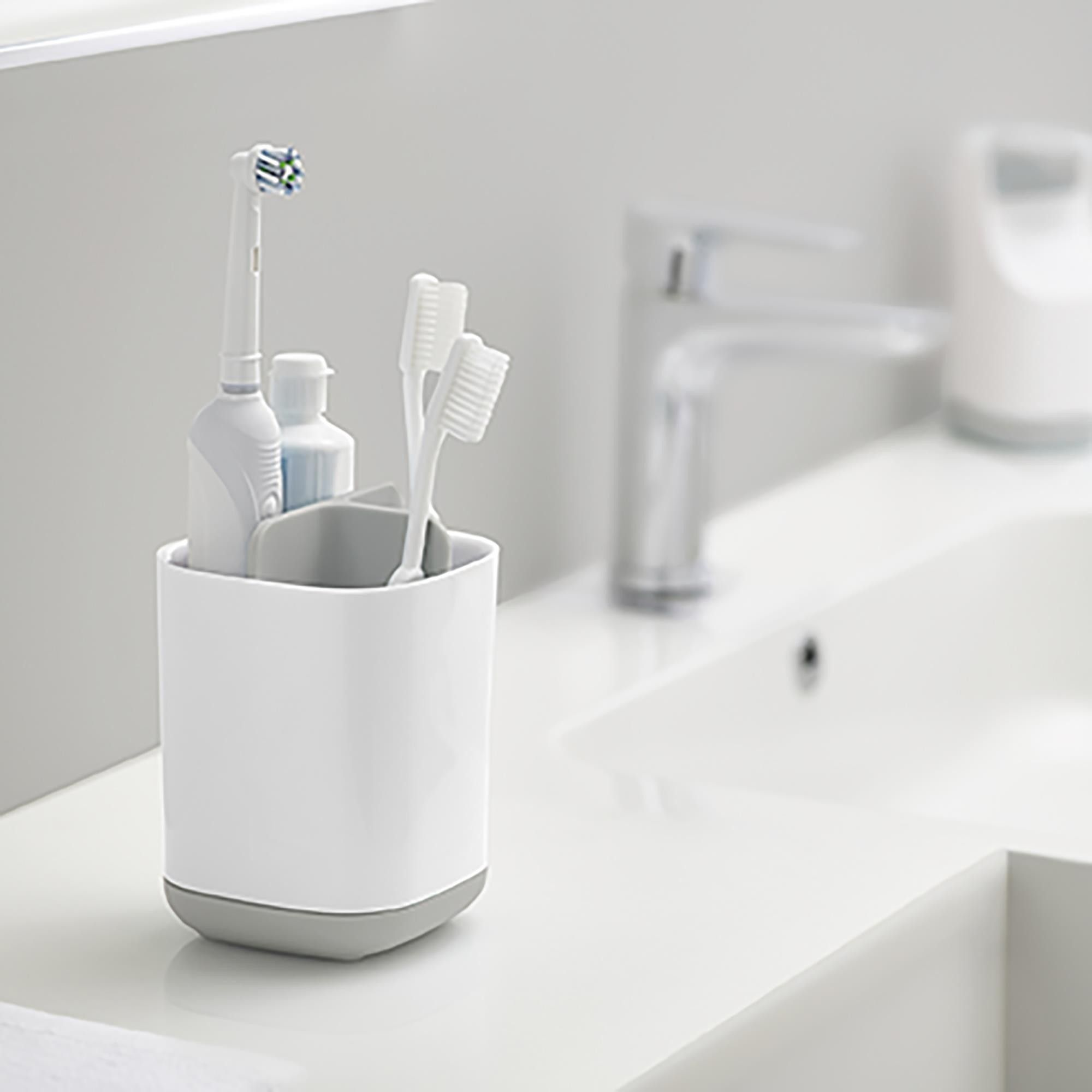 Joseph Joseph Smart Bath Toothbrush Holder Caddy White Grey In 2020 Brushing Teeth Toothbrush And Toothpaste Holder Toothbrush Holder