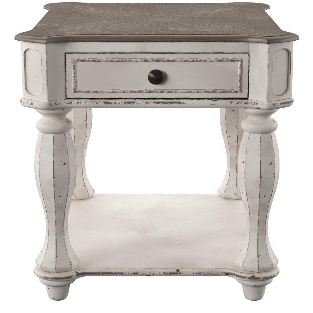 Magnolia Manor Antique White End Table Veneer Antique White