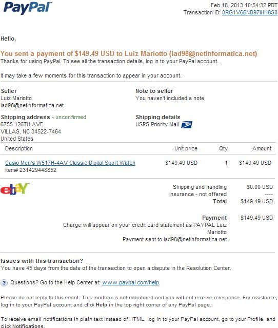 paypal receipt fake template benjamin