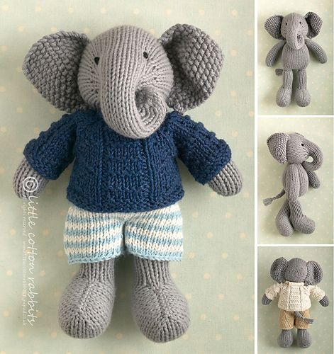 Boy Elephant in a textured sweater pattern by Julie Williams ...
