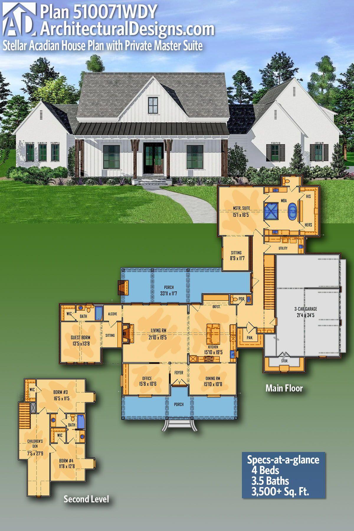 Plan 510062wdy Split Bedroom House Plan With Large Walk Through Pantry House Plans Acadian House Plans Farmhouse Plans
