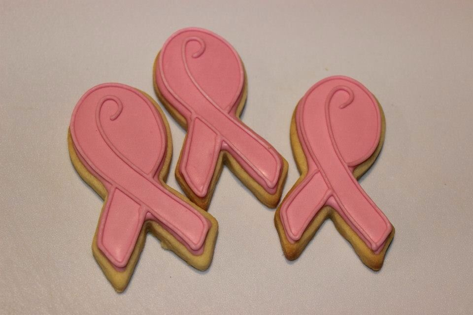 Pink ribbon cookies baked for a fund raiser
