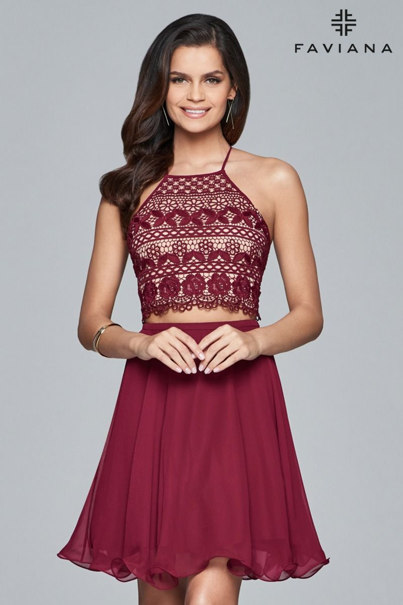 Front view of wine short lace twopiece cocktail dress with laceup