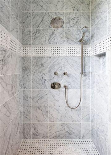 Basket Weave Bianco Carrara Black Dot Polished Basketweave Tile Bathroom Shower Tile Designs Shower Tile