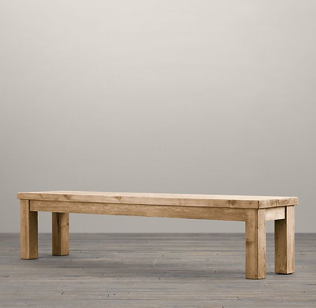 RHu0026 Salvaged Wood Bench:Handcrafted Of Unfinished, Solid Salvaged Pine  Timbers From Buildings In Great Britain, Our Salvaged Wood Dining Bench  Evokes The ...