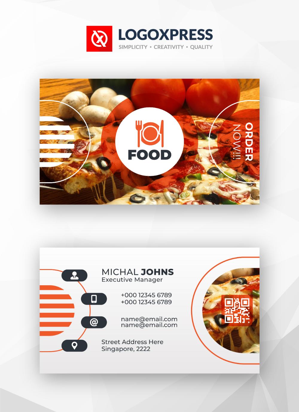 Restaurant Food Business Card Design Template Food Business Card Design Food Business Card Business Card Pattern