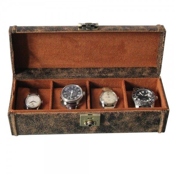 Coffret Cubano 4 En Cuir Vintage Pour 4 Montres Cuir Vintage Boite A Montre Rangement Montre