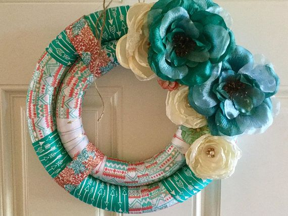 14 in Wreath double wrapped wreath ribbon wrapped wreath